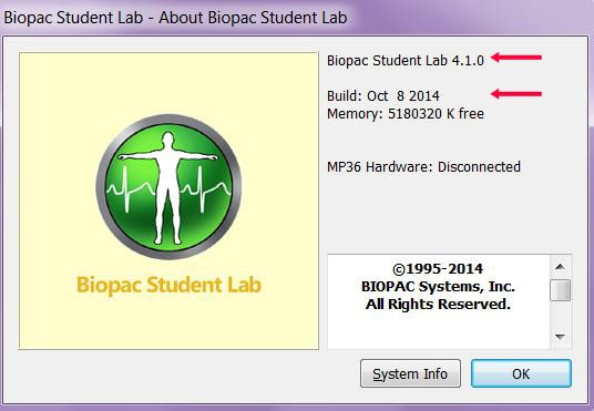 Biopac Student Labsoftware version and build