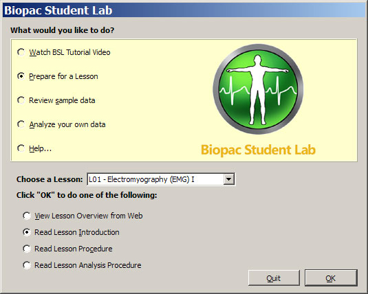 Biopac Student Lab RSD Software