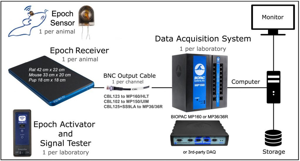 EPOCH transmitters and BIOPAC DAQ