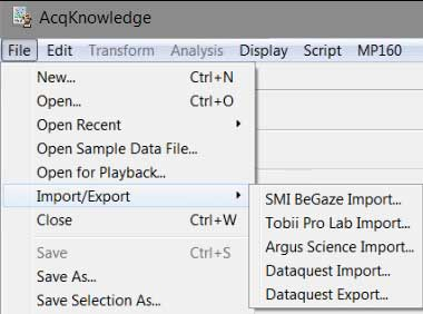 Eye Tracking Data Import in AcqKnowledge