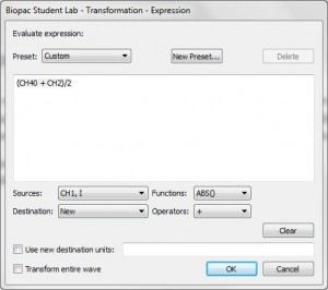 AcqKnowledge expression dialog