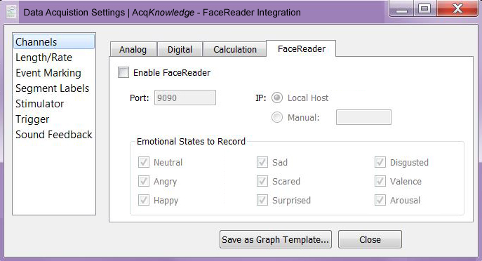 AcqKnowlege license for FaceReader expression analysis