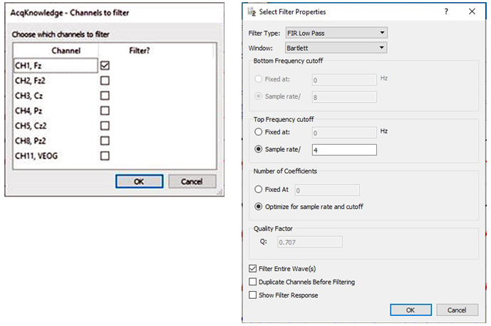 Filtering Channel Dialog