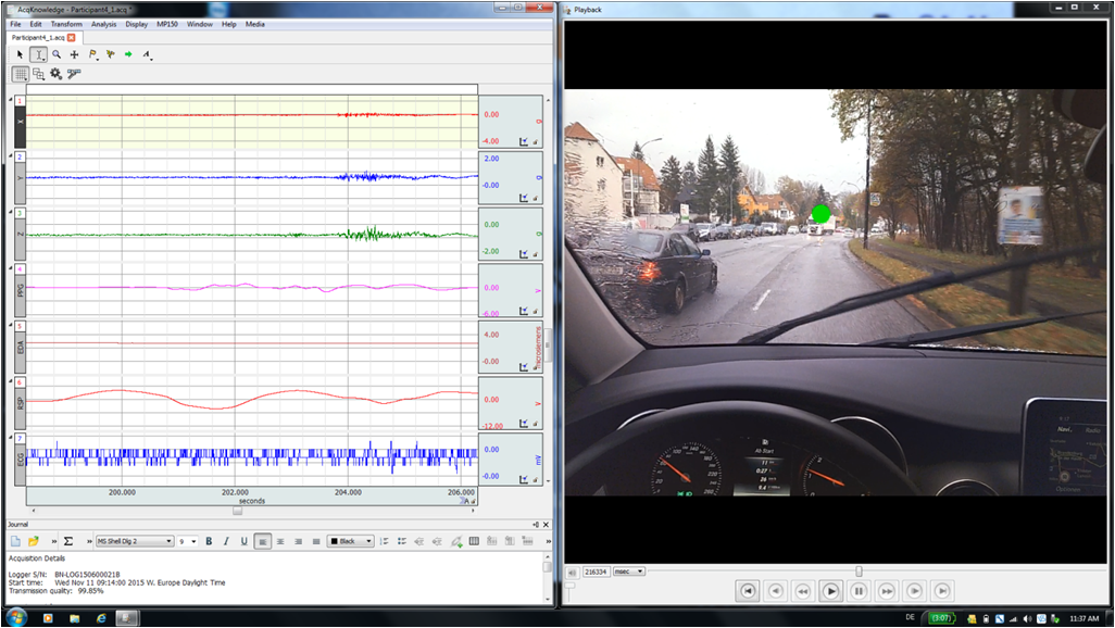 BioNomadix Logger data with video from eye tracker