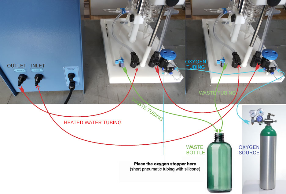 tissue bath water, oxygen, and waste connections