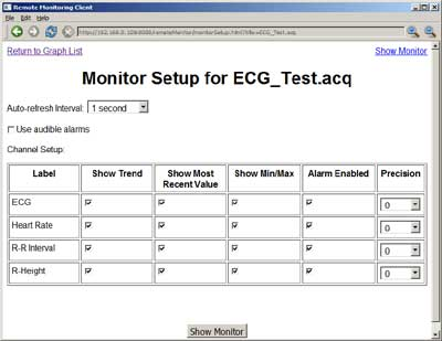 AcqKnowledge Remote Monitor Setup